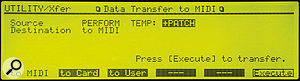 Figure 3. On the JV2080, setting up the SysEx data transfer options as shown will enable you to back up a complete Performance, including all Patch edits currently in the temporary buffer.