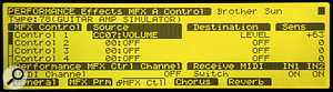 Figure 8. In order to automate the MFX output levels, you can route MIDI Continuous Controller messages to the appropriate MFX parameters, as shown here.
