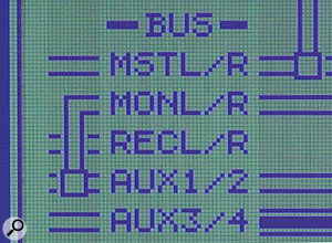 Linking two aux busses into a single stereo buss lets you send separate signals to each of the two Monitor jack outputs (right). If the aux busses aren't linked, then a single aux buss will be fed to both outputs (left).