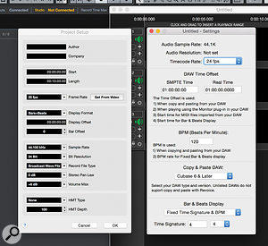 However you transfer audio between your DAW and Revoice Pro, you must ensure various project settings in Revoice Pro match those of your DAW.