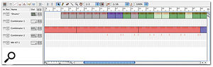 The notes created by the 'Convert Pattern Track To Notes' function are arranged into colour-coded edit groups.