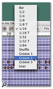 Drum tracks created by step sequencing can be 'humanised' with a little groove quantising.