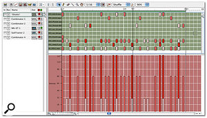 Our drum track as viewed in the sequencer's Drum Lane. The Velocity Lane reveals Redrum's Soft, Medium and Hard velocities.