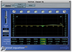 Here you can see some vocal EQ settings — a narrow-band cut at 1.1kHz reduces some excess nasality, while two broad-band boosts at 5kHz and 17kHz add presence and 'air' to the sound respectively.
