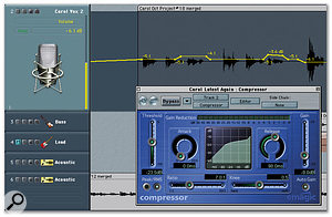 When it comes to the mixdown stage, you can afford to compress with a higher ratio if you like, especially if you're after a specific heavily compressed vocal sound. However, even heavy compression can leave certain syllables or phrases lost in the mix, in which case the most sensible remedy is to use your sequencer's automation to ride the level of the vocal channel.
