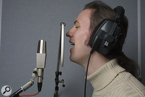 Working with a pop shield is advisable when using a sensitive condenser mic, as it will help avoid excessive popping on plosive sounds such as 'P' and 'B' consonants. A fairly sensible initial setup is to place the pop shield about three inches from the mic, and then position the singer about six inches away from the pop shield (left). However, moving the singer closer to a cardioid-pattern mic (right) will allow you to take advantage of its proximity effect if you want more low-end weight to the sound.