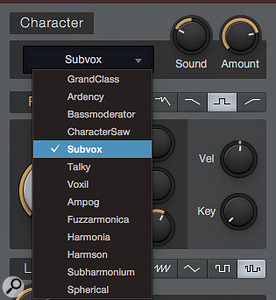 Screen 4: The Character section has only two parameters, Sound and Amount, but it offers a  broad selection of waveshaping filters to choose from. The Sound parameter can be modulated for dynamic timbral change, and Amount can be automated.
