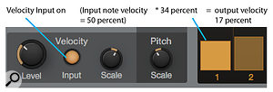 Screen 2b: With Velocity Input enabled, the value of a bar scales the input note velocity.