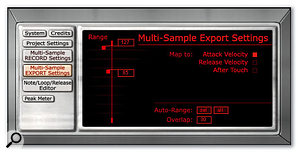 If the project includes velocity layers, their response can be configured via the Multisample Export settings.