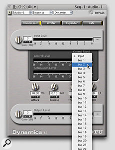Selecting bus 2 as the side-chain input signal in Digital Performer.
