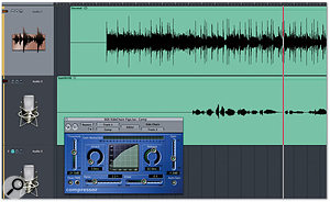 Logic's Compressor plug-in is being used for 'ducking' in this screenshot. The compressor is inserted on the first track (a backing submix) but its actions are controlled by the second track (vocal). When the vocal signal exceeds the threshold, the submix is automatically compressed and reduced in volume. The submix itself has no impact on the operation of the compressor. Note that, to compensate for the attack time of the compressor, the vocal track has been slightly advanced ahead of the submix.