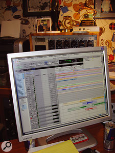 The Pro Tools Session for the third SMiLE movement during mixing at Mark Linett's Your Place Or Mine studios. On screen, the orchestral intro to the third movement has already been assembled with the next section, 'I'm In Great Shape'.