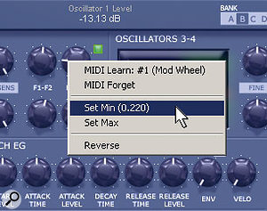 The MIDI Learn function makes it easy to set minimum and maximum controller limits.