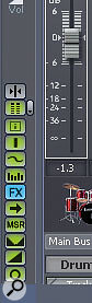 The Console view toolbar, where you can customise the look of the mixer.