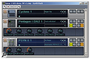 The new Synth Rack, with some user-defined controls displayed for the Pentagon I and Psyn II synths.
