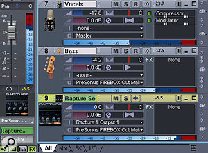 You need to tweak the bass level — quick! Which track has the bass? Track icons are easier to identify than text when you're in the heat of a mix. Also note the custom Rapture soft-synth icon.