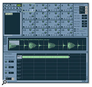 A simple drum loop has been loaded into pad one. Note the waveform display in the middle with the 'slice' markers, and the representation of the loop in the Pad Editor toward the bottom. Each slice is shown as a 'Grain' in the Pad Editor.