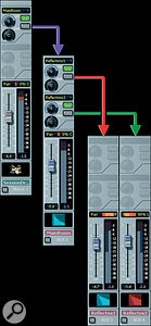 The channel at upper left is the stereo mixed drum track. This sends to the MainRoom bus, which contains the Perfect Space convolution reverb. The MainRoom bus, in turn, feeds two other buses, Reflections1 and Reflections2. These contain delays designed to add more early reflections to the reverb sound. All buses end up feeding the Master bus.
