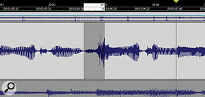 This peak is considerably louder than the rest of the vocal, but reducing it by a few dB will bring it into line.