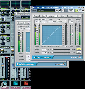 Adding acompressor to each Reflection bus can make the sound alot bigger, providing you use ashort release time and set enough attack time to avoid compressing the initial percussive transient. Also note that the MainRoom bus has astage of low‑pass filtering EQ engaged, to dull the high frequencies abit.