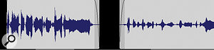 The clip on the left has been normalised, with an added fade‑in and fade‑out, and silence has been cut away. The clip on the right has afade‑in added, but has not been normalised.
