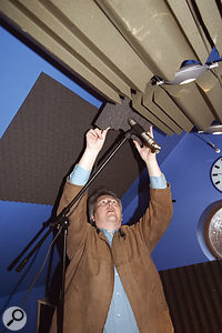 In order to dry up the overhead sound, Hugh suspended some acoustic foam from the ceiling and attached more foam to the back of the overhead mic.