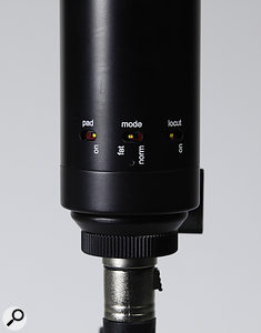 The pad, high-pass and voicing switches are all located at the bottom of the mic's body.