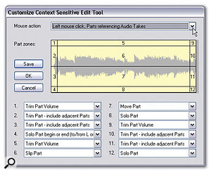 The Customise Context Sensitive Edit Tool window. The tool selections displayed apply when the mouse pointer is on an Audio part. Different selections can be made for Automation parts, and for either part type when the Alt key is pressed, using the Mouse Action menu (top). The screenshot also shows how the Parts are divided into zones.