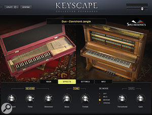 Hybrid Duo patches feature the combined sound of two keyboards, creating some unique sounds. Shown here: clavichord and Wing upright piano.