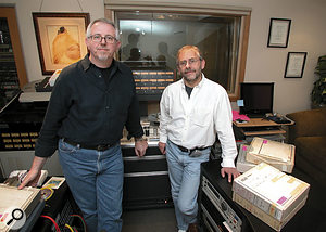 Elliot Scheiner recently used LA's new Cups 'N' Strings Studios for preparation of the original Steely Dan Gaucho (1979-80) multitrack analogue masters for release this year in 5.1 surround. Owner and chief engineer Bruce Maddocks first baked the priceless masters in his laboratory-grade mechanical convection oven, and they were then played back on a Studer 827 24-track deck. Pictured are (L-R) Bruce Maddocks and Elliot Scheiner.