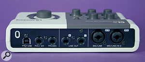 The rear panel of the CI2. As well as the expected analogue I/O, there's adedicated headphone output and, usefully, an input for an optional footswitch.