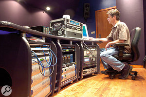 Steve Hodge at the desk in the Institute of Production & Recording in Minneapolis, where he now teaches.