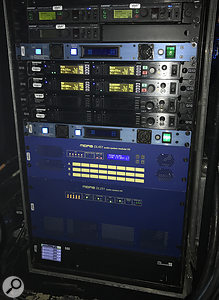 The heart of Bond's touring system: the on-stage mixer I/O and wireless monitor rack.