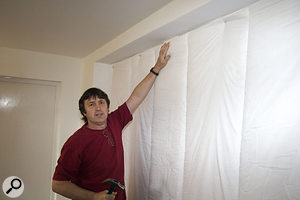 A return visit enabled Hugh and Paul to hang duvets in the recesses of the wooden garage doors, to further improve the room's acoustics.