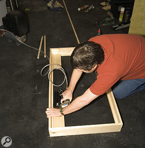 Wooden batten is fitted to the inside of the frames to help position the rockwool and foam correctly.