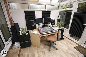Given that bass frequencies wouldn't be too much of an issue, all that was needed to treat the control room was alittle Auralex acoustic foam.