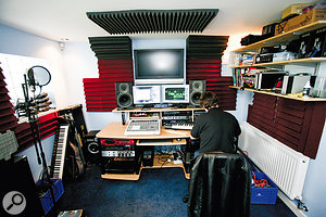 After the Studio SOS visit: With Auralex acoustic foam placed around the 'mirror points' and bass trapping positioned in the join between the walls and ceiling, the sound at the mix position was much improved.