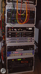 Walter Taieb's main outboard equipment racks. From top: MOTU Digital Timepiece synchroniser, Ensoniq DP4 effects, Lexicon 300L reverb, Dbx 165 and 160XT (x2) compressors, Aphex 661 compressors (x2), SPL Vitalizer enhancer, Focusrite ISA 115HD input channel, TC M5000 reverb and Tascam DA45 DAT recorder.