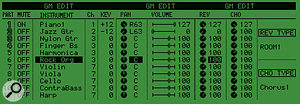 Here the three editing screens for the 2488's internal GM sound module have been laid end to end so that you can see all the available parameters— parts 12-16 can be edited by scrolling the display using the cursor keys.