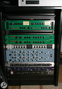 One of the well-stocked processing racks in Darren's studio (from top): Joemeek TwinQ and two VC6Q voice channels, Smart Research C2 compressor, Oram Hi-Def 35 equaliser, Behringer Ultrafex II enhancer, SPL Transient Designer dynamics processor, and Digidesign ADAT Bridge audio interface.