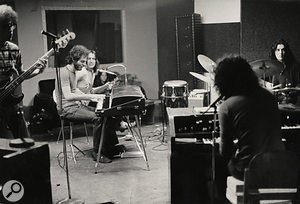 John Seigler (bass), Ralph Schuckett (electric piano), Todd Rundgren (guitar), Moogy Klingman (organ) and John Siomos (drums) rehearse at Secret Sound Studios for Todd's album A Wizard, A True Star in 1972.