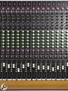 One of the ATB24's channel strips. The 'British' EQ is one of the defining characteristics of this desk.