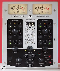 The portable control panel of the Remote Preamp system. As well allowing you to set up the preamp, the controls also adjust the cue mix facility — so, for example, a vocalist could use the unit to mix their own monitor signal using the built-in reverb.