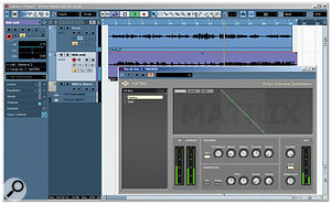 In this example, Matrix is inserted on the Vocal track. With the side-chain input activated (the orange button), the plug-in is using the wah-wah guitar track as an external carrier signal. This track has its output routed to Matrix in the Project window Inspector.