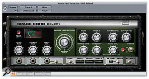 Because the tape cumulatively colours the sound every time it repeats, tape echo units (or virtual models of them, like RE201 for the UAD1 card) can give a warmer sound than digital delays, and one that often sits better in a mix.