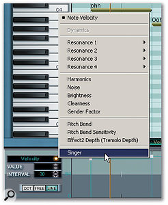 The controller lane's drop-down menu provides access to a selection of parameters used to add realism to the synthesized vocal.