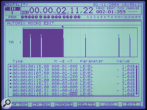 The facility to create very detailed automation envelopes in the Automix Micro Edit screen has a lot of creative uses. Here I've programmed a series of very short gain 'spikes' to emphasise drum transients — this creates an effect similar to that of SPL's Transient Designer. Although it takes a little time to create such automation envelopes, you can then easily copy them to where they're needed.