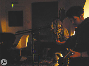Crucial to the recording was capturing vocalists Oliver Sim and Romy Madley Croft singing together — mostly, as here, into borrowed Neumann M149s.
