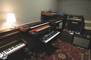 A selection of the gear currently in the XL studio. As well as an upright piano, keyboards include a Roland Juno 6 synth, Vox Continental organ, Akai MPK61 controller, and Moog Prodigy and Sequential Pro-One monosynths.