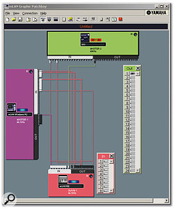 The mLAN Graphic Patchbay lets you create links between audio and MIDI Ins and Outs with the mouse, and easily manage the Master and Slave word-clock assignments. Note the colour-coded input and output windows, here for the mLAN16E (in the Motif ES) and 01X used for the review.